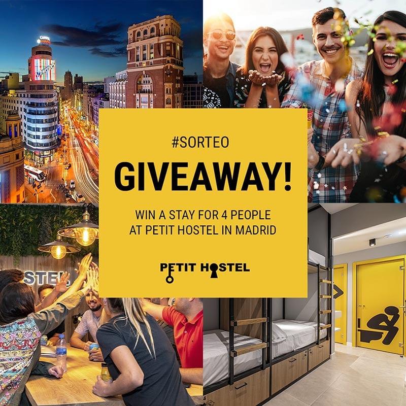 Sorteo de una estancia de 2 noches para 4 personas en Petit Hostel Madrid